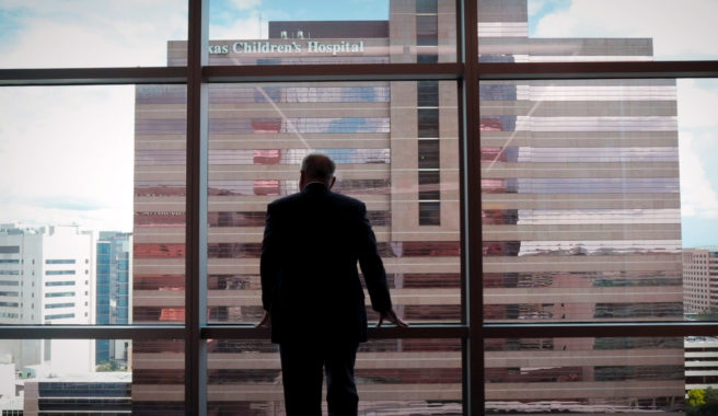 Texas Children's Hospital CEO Mark Wallace looks out